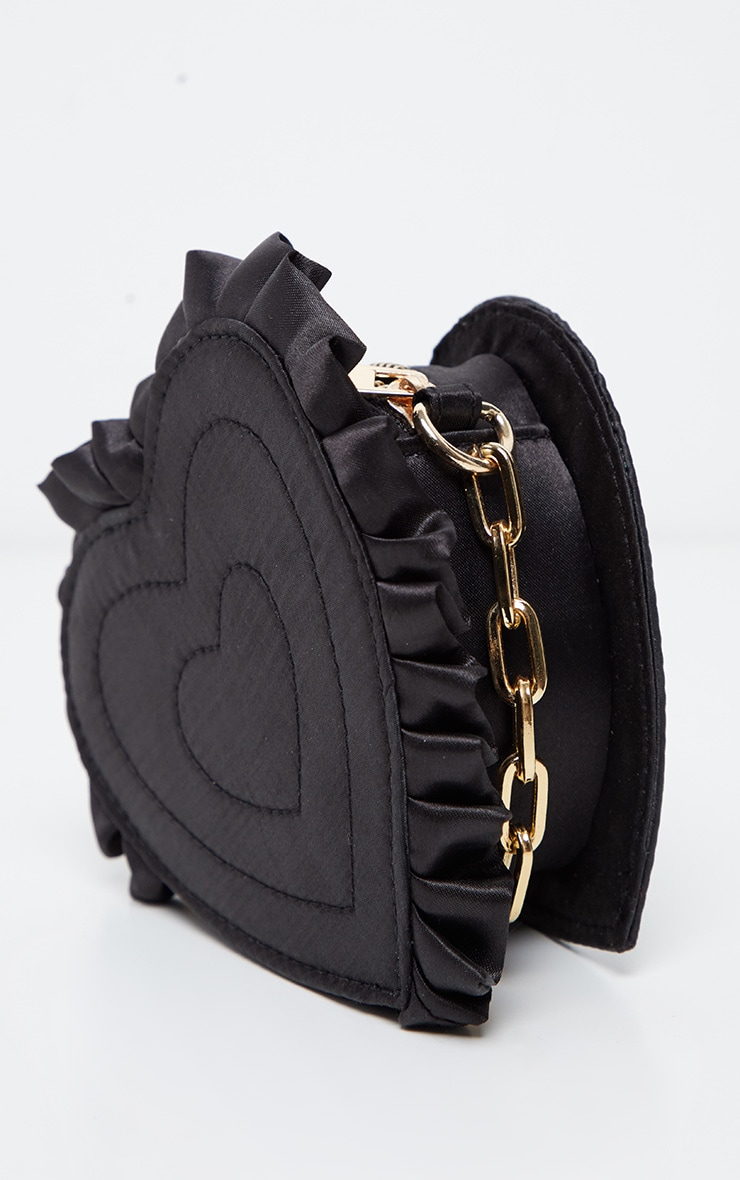 Black Satin Heart Mini Bag 3