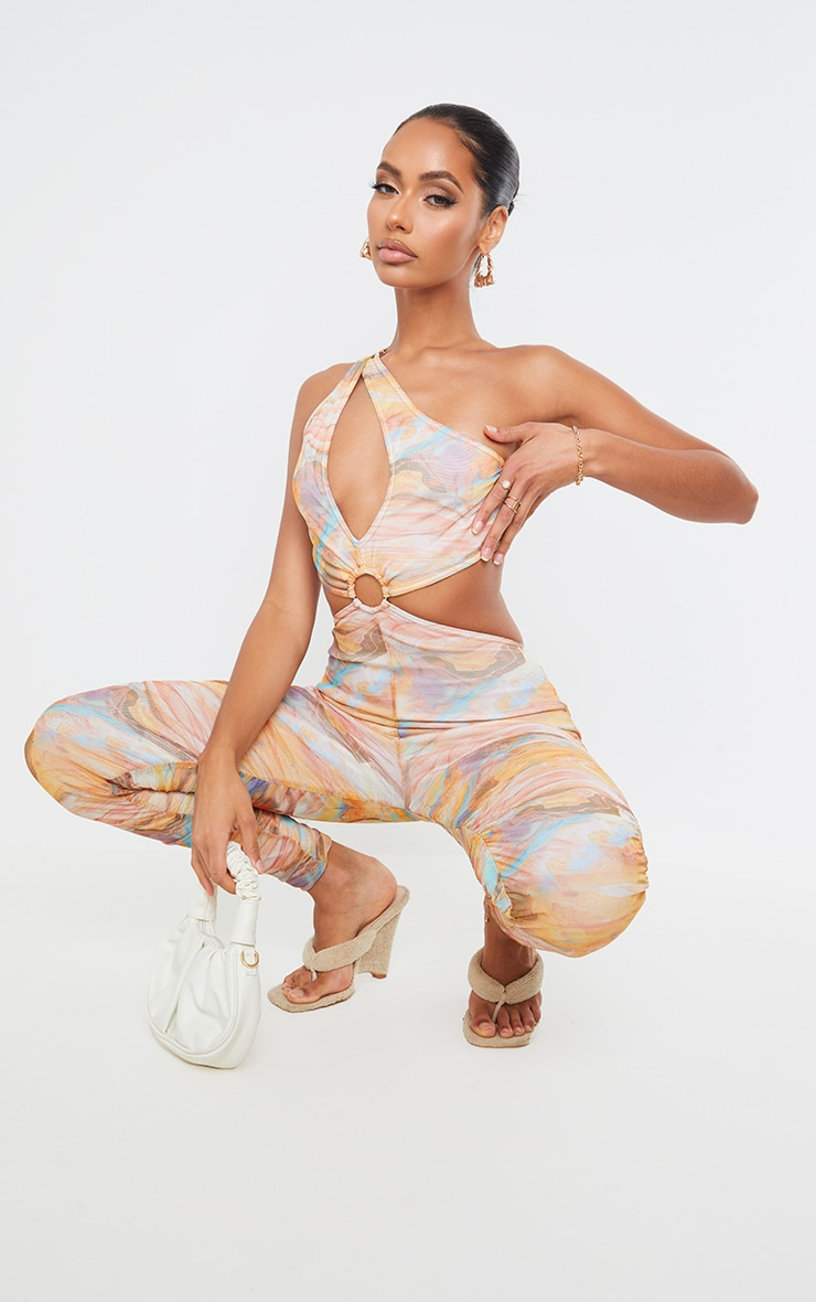 Multi Marble Print Ring Detail One Shoulder Mesh Jumpsuit 1