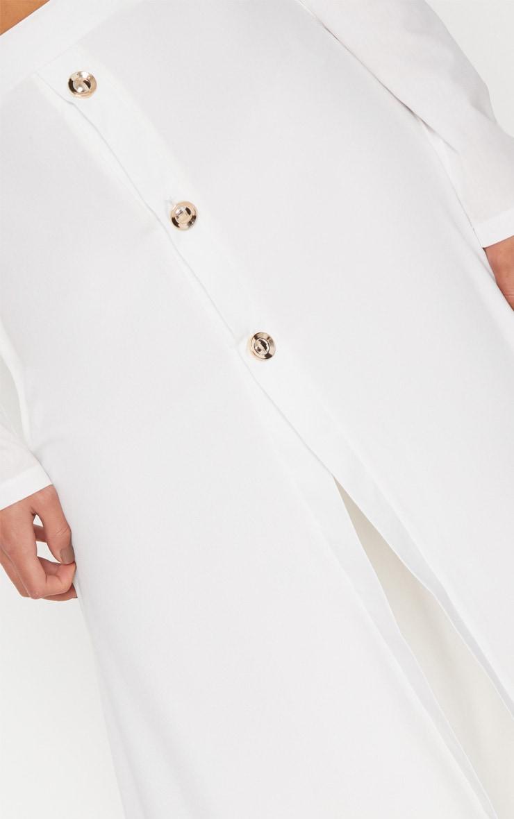 Cream Satin Button Front Maxi Skirt 5