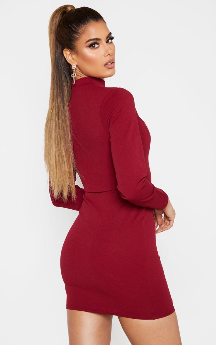 Tall Burgundy High Neck Cut Out Long Sleeve Dress  2