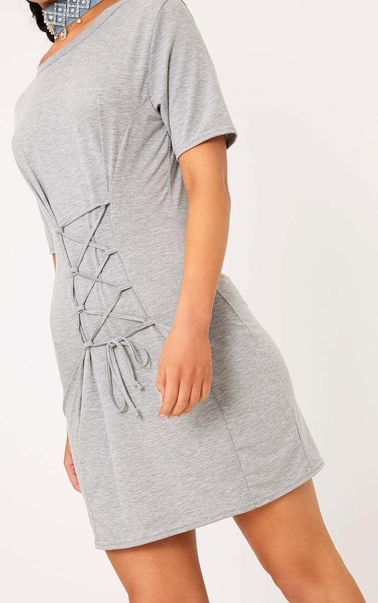 Benayah Grey Jersey Corset Detail T Shirt Dress 5