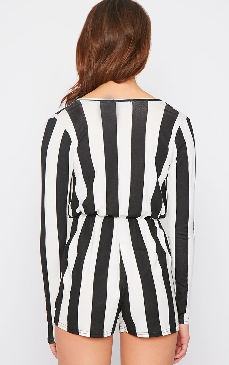 Indra Monochrome Striped Wrap Over Playsuit  3