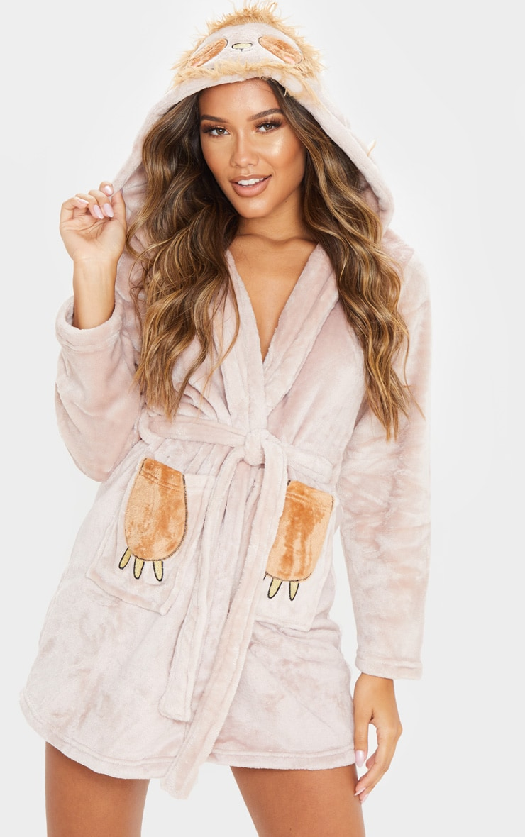 Beige Sloth Dressing Gown 1