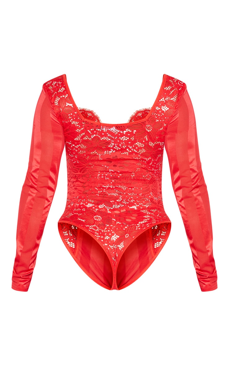 Shape Red Lace Mesh Long Sleeve Stripe Bodysuit 6