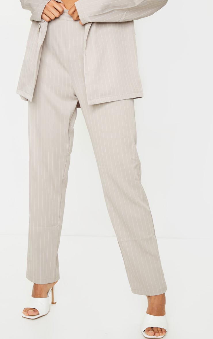 Light Grey Pinstripe Belted Straight Leg Pants 2