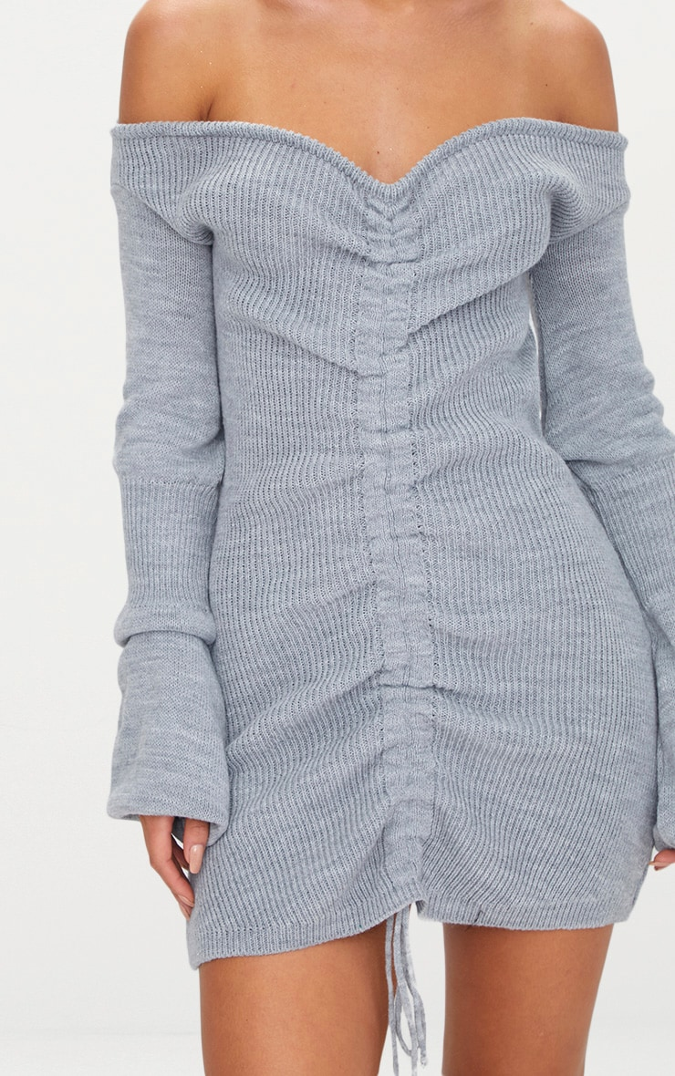 Grey Ruched Knit Dress 5