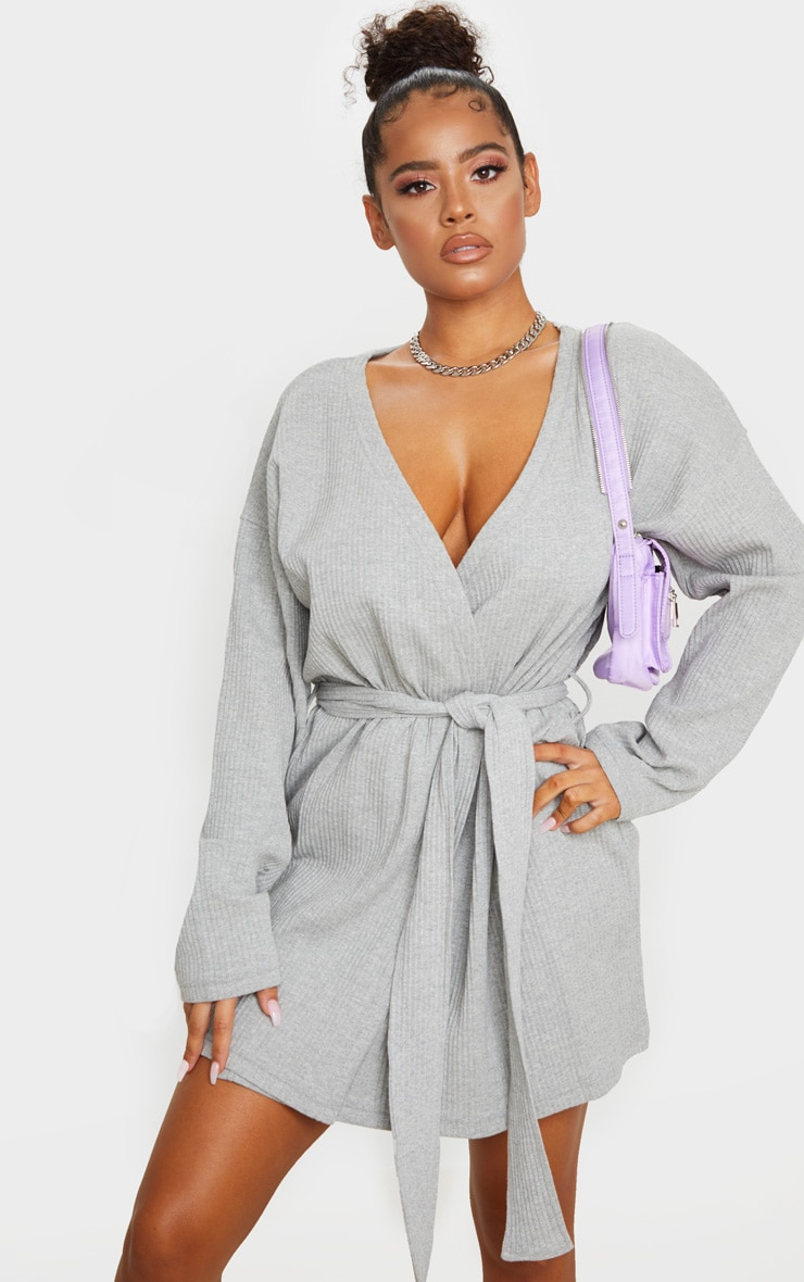 Grey Heavy Rib Long Sleeve Wrap Front Shift Dress 1