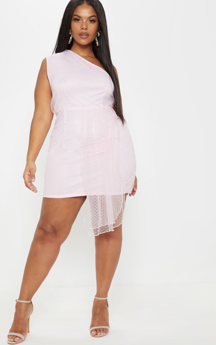 Plus Dusty Pink Mesh Overlay One Shoulder Dress 4