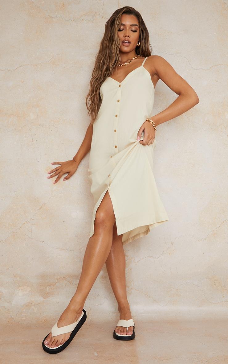 Stone Linen Look Wooden Button Down Strappy Slip Maxi Dress 1