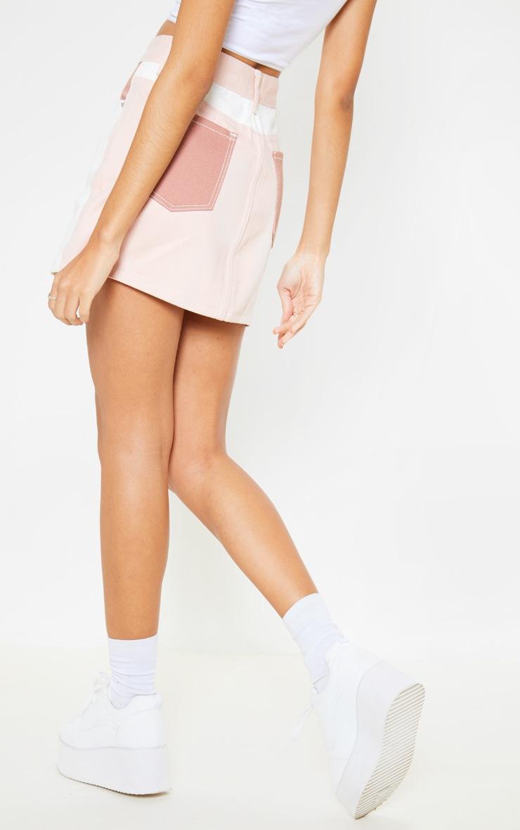 Multi Colour Block Denim Skirt 4