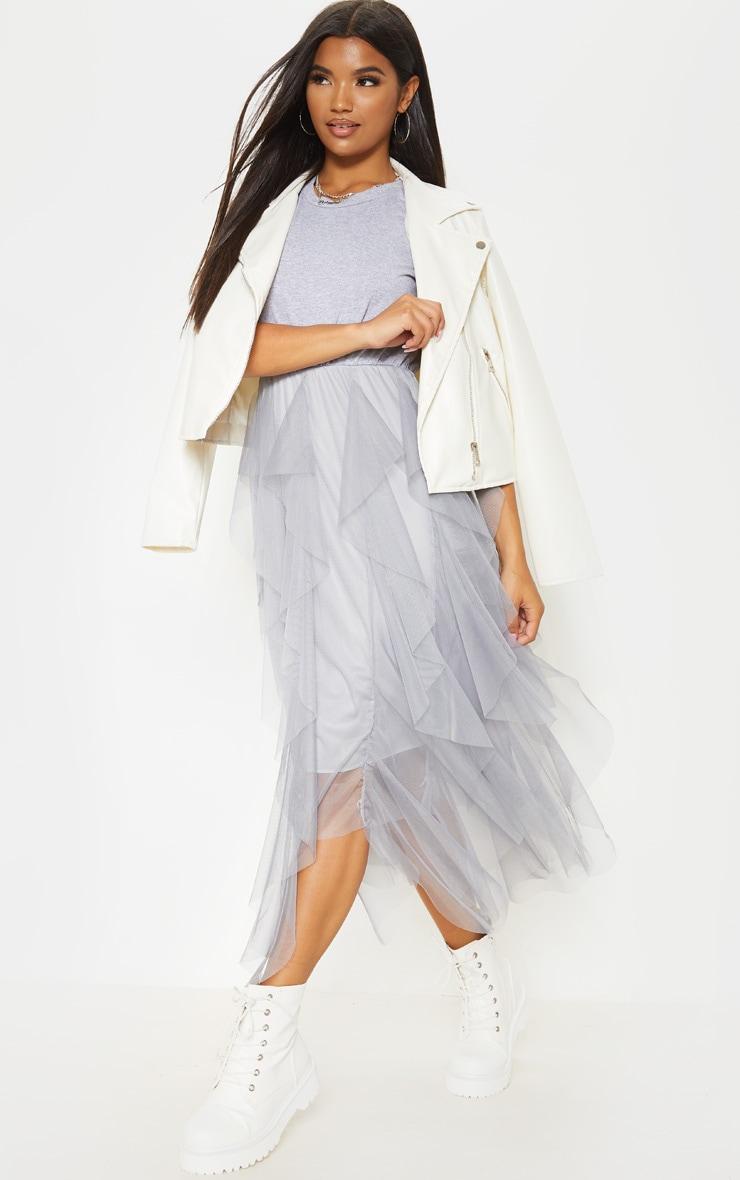 Grey Tulle Detail T Shirt Dress 4