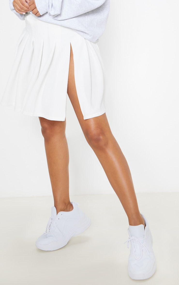 Petite White Pleated Side Split Tennis Skirt 2