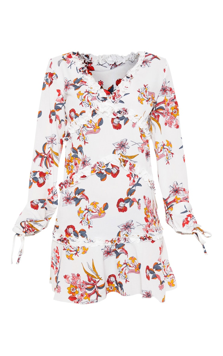 White Floral Print Frill Smock Dress 3