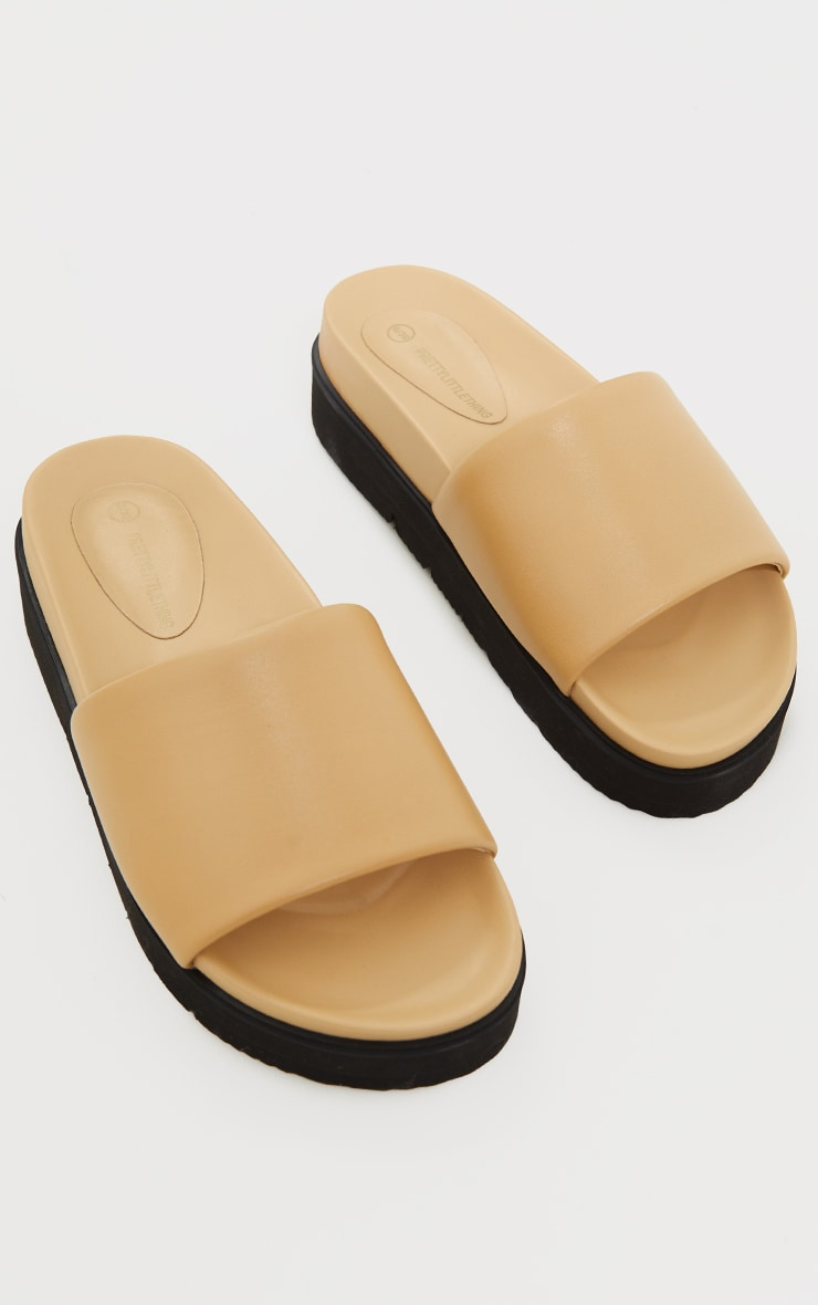 Camel Real Leather Footbed Chunky Mule Sandals 3