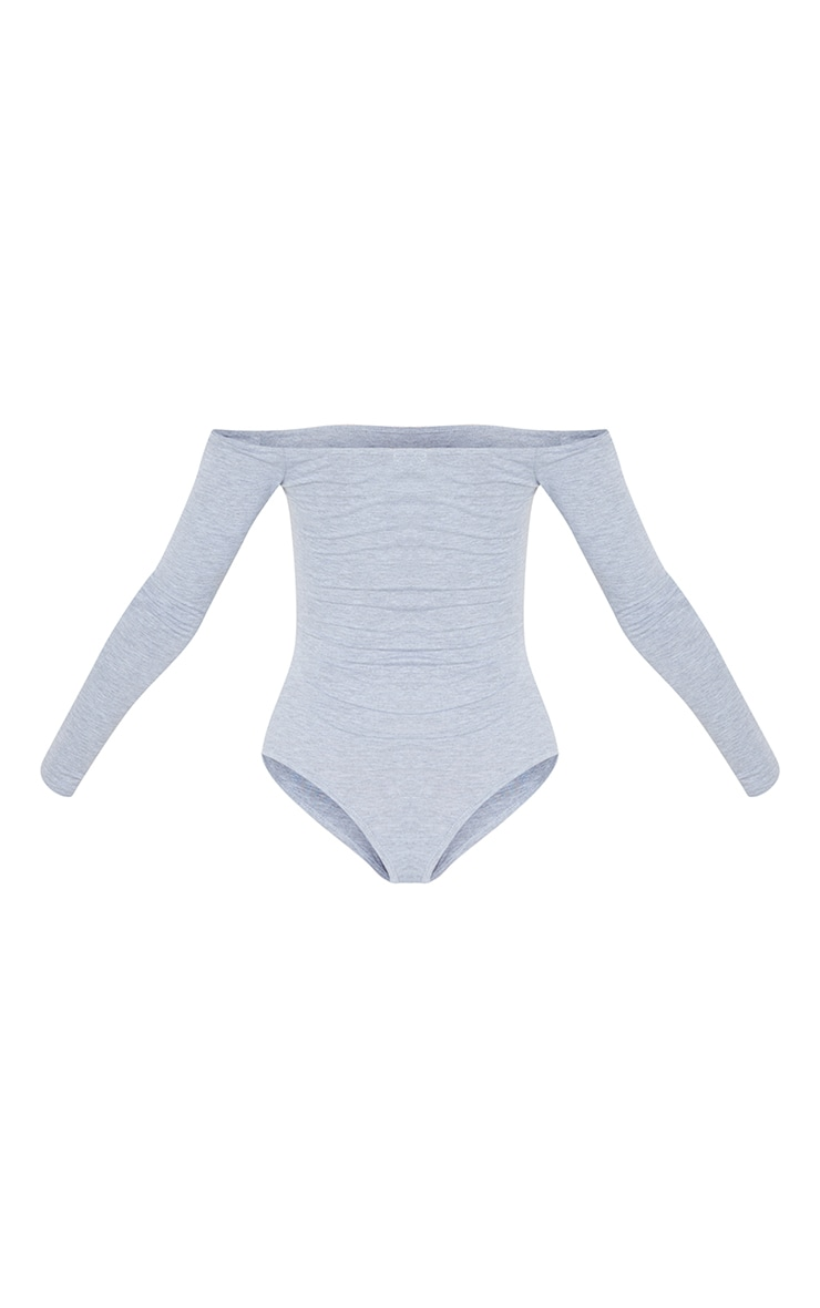 Basic Grey Bardot Thong Bodysuit 6