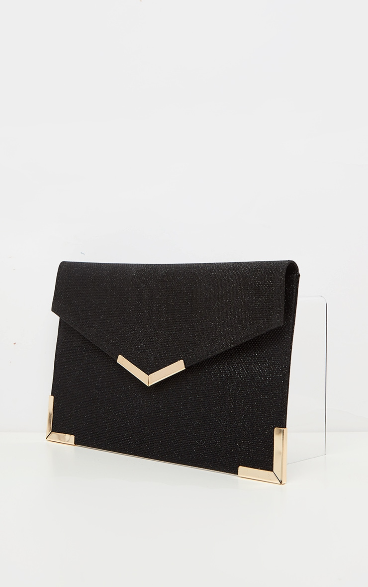 Black Glitter Metal Trim Large Envelope Clutch Bag 2