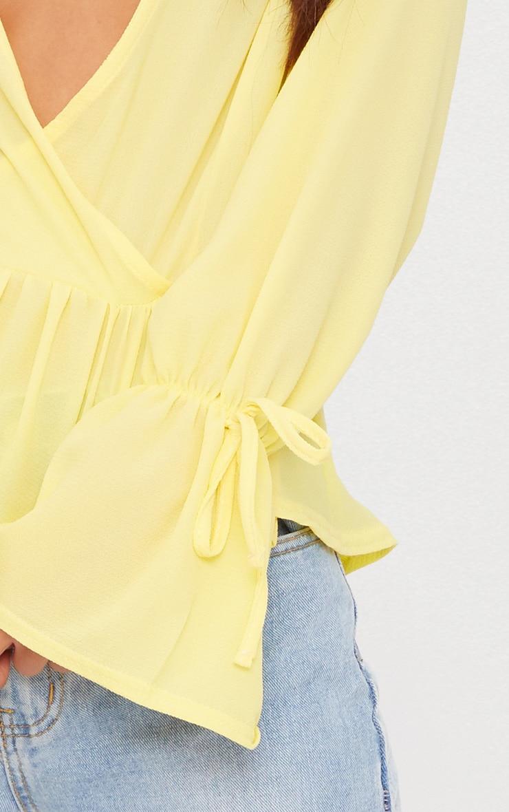 Lemon Chiffon Deep Plunge Blouse  5