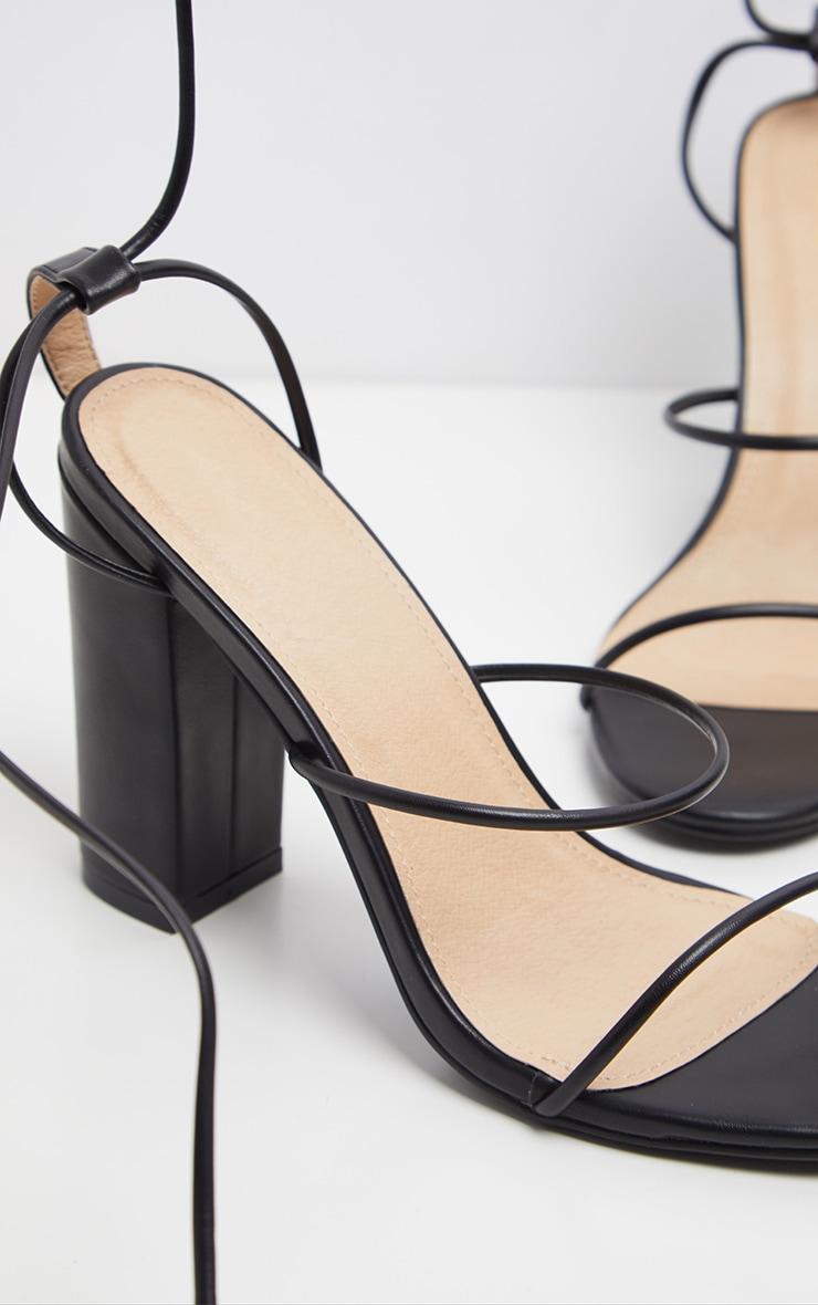 Black Delicate Strap Block Heel Ankle Tie Sandal 3