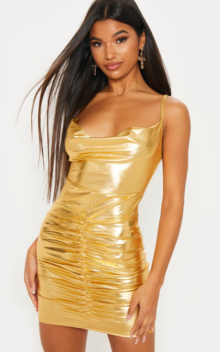 Gold Metallic Cowl Neck Ruched Bodycon Dress