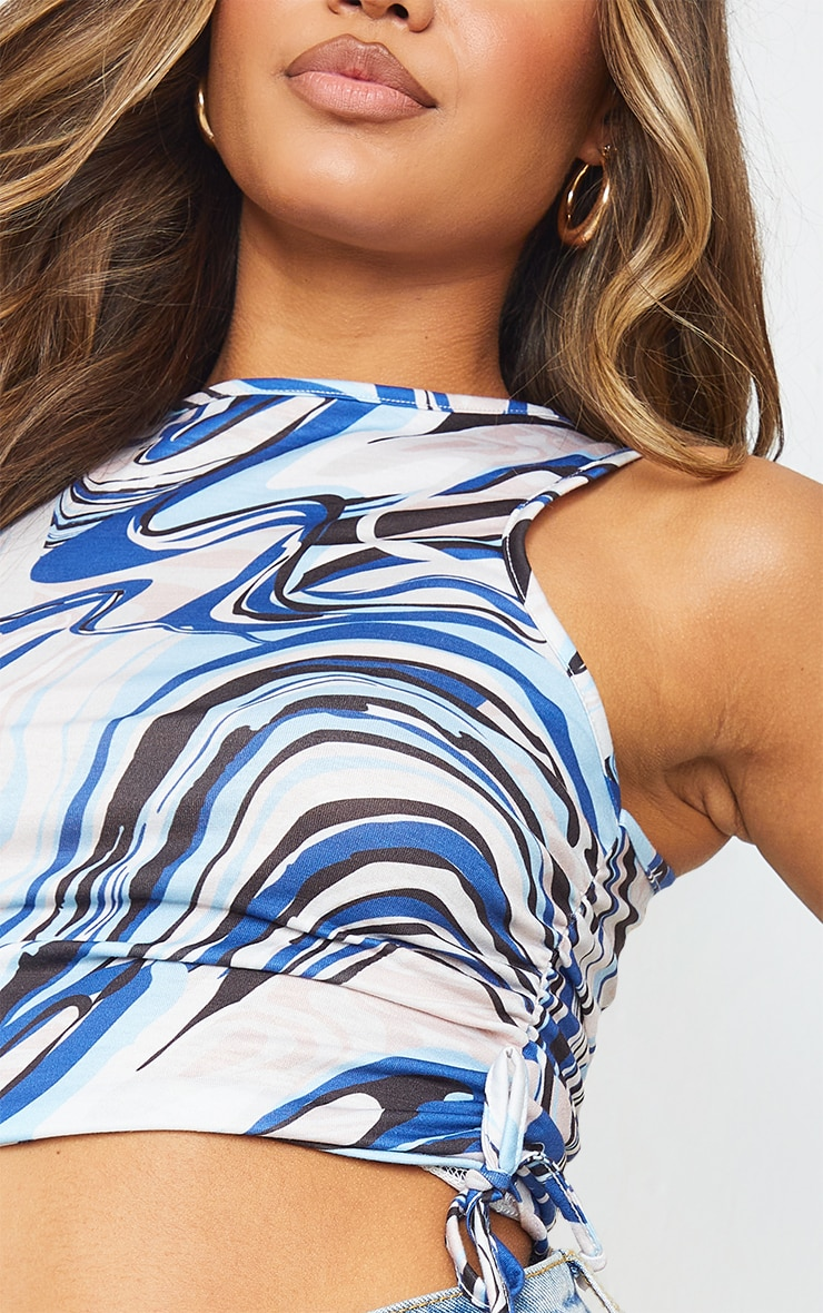 Blue Abstract Print Drawstring Side Racer Crop Top 4