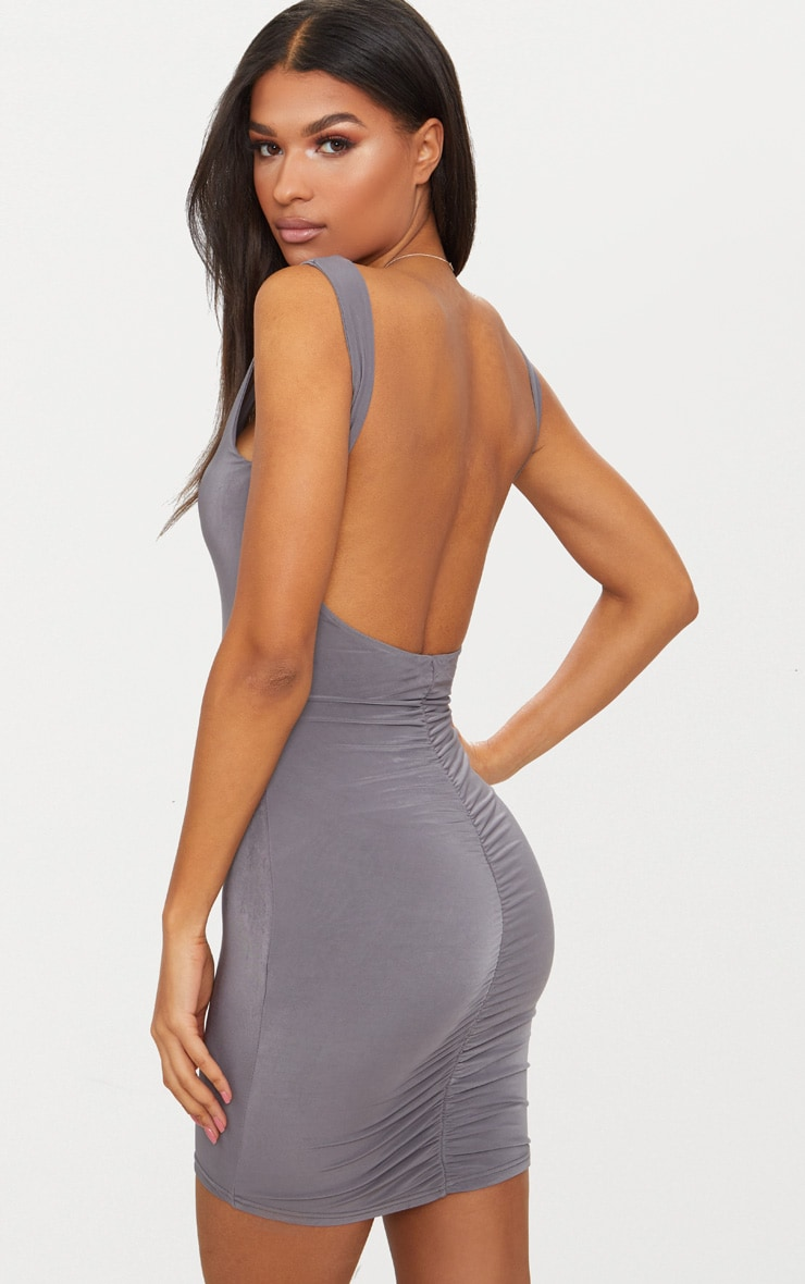 Elephant Grey Slinky Ruched Back Bodycon Dress 1