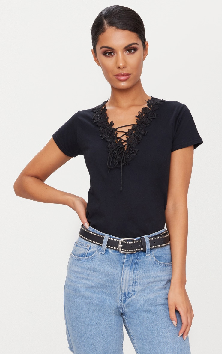 Black Lace Up Fitted T Shirt 1 e40af7f7b