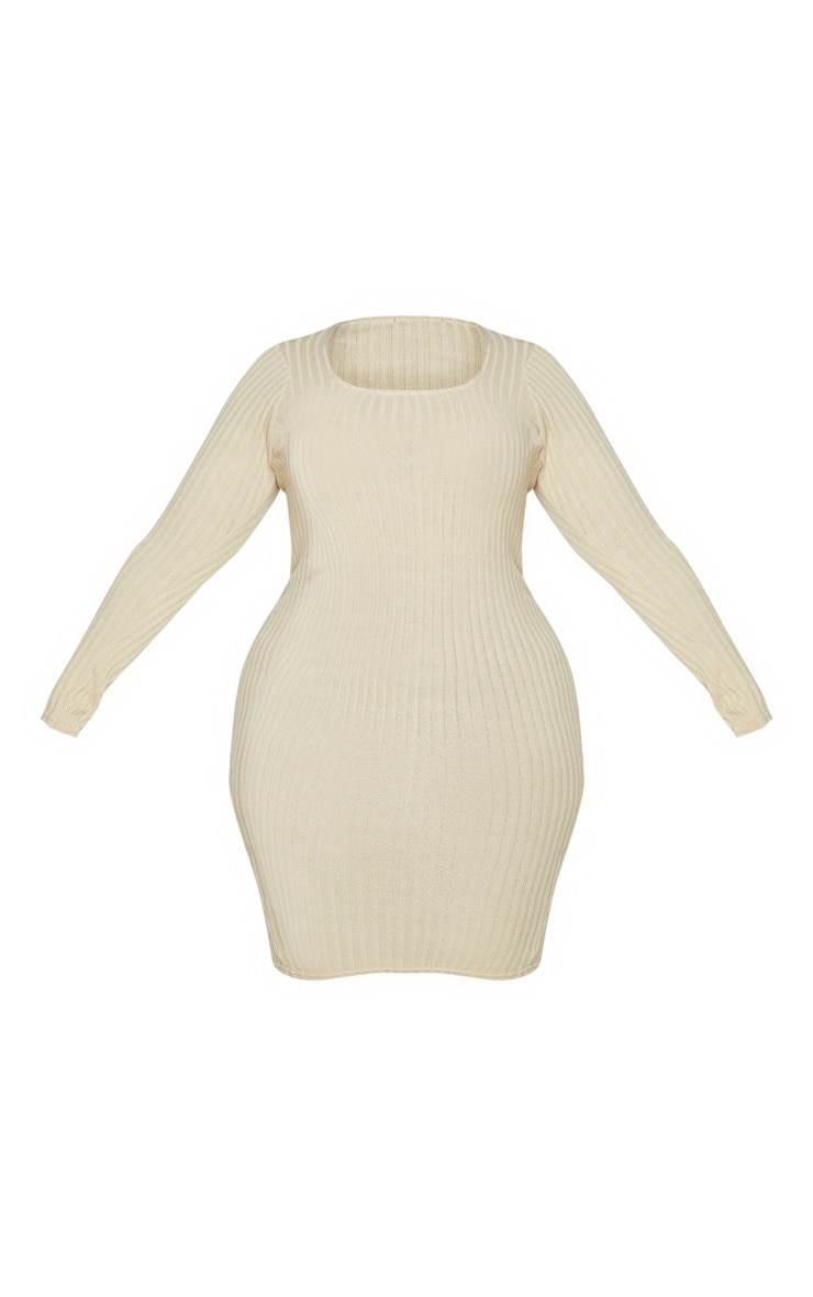 Plus Stone Knit Square Neck Long Sleeve Bodycon Dress 4