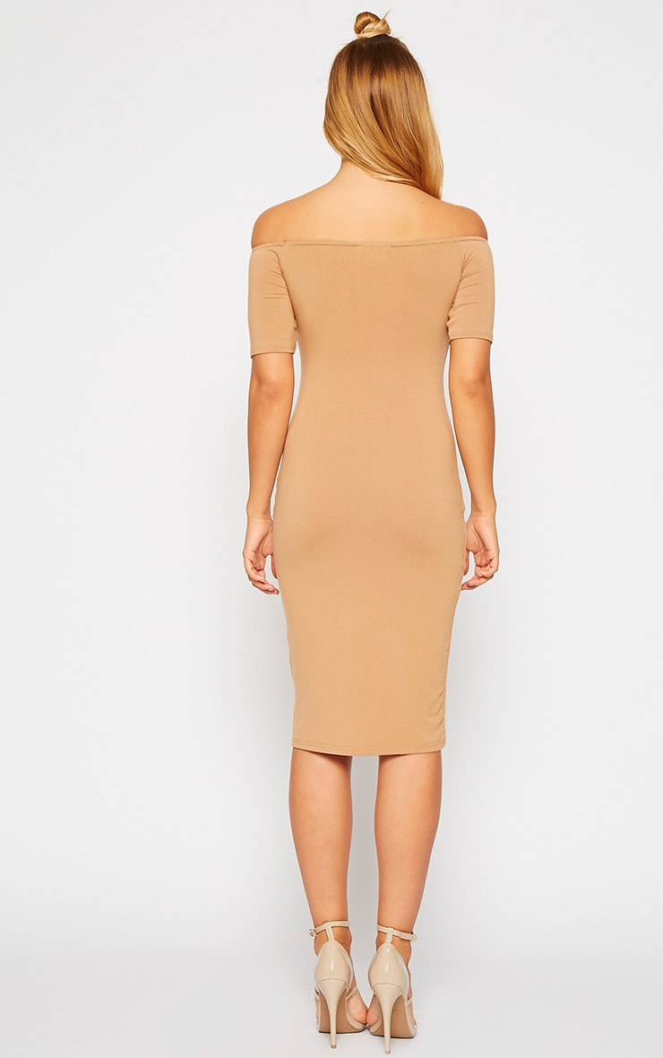 Caty Camel Jersey Bardot Midi Dress 2