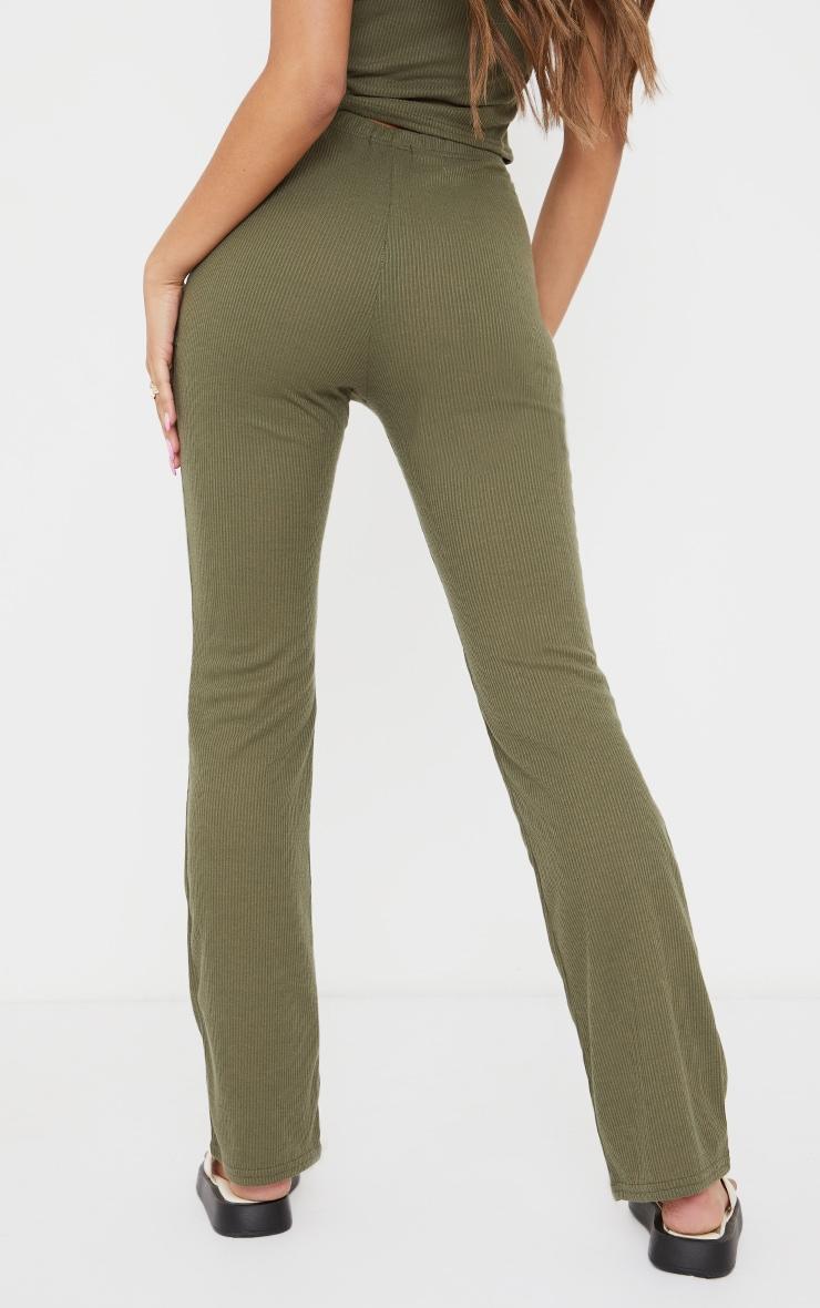 Khaki Ribbed Straight Leg Trousers 3