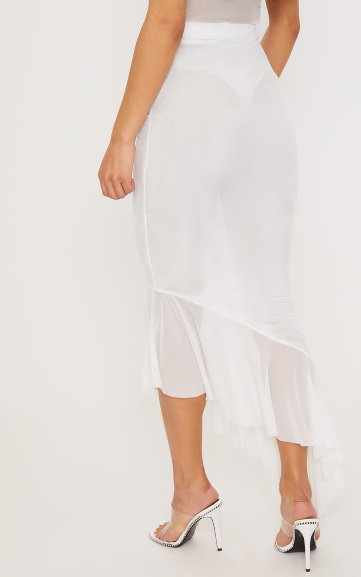 White Mesh Frill Detail Maxi Skirt 4