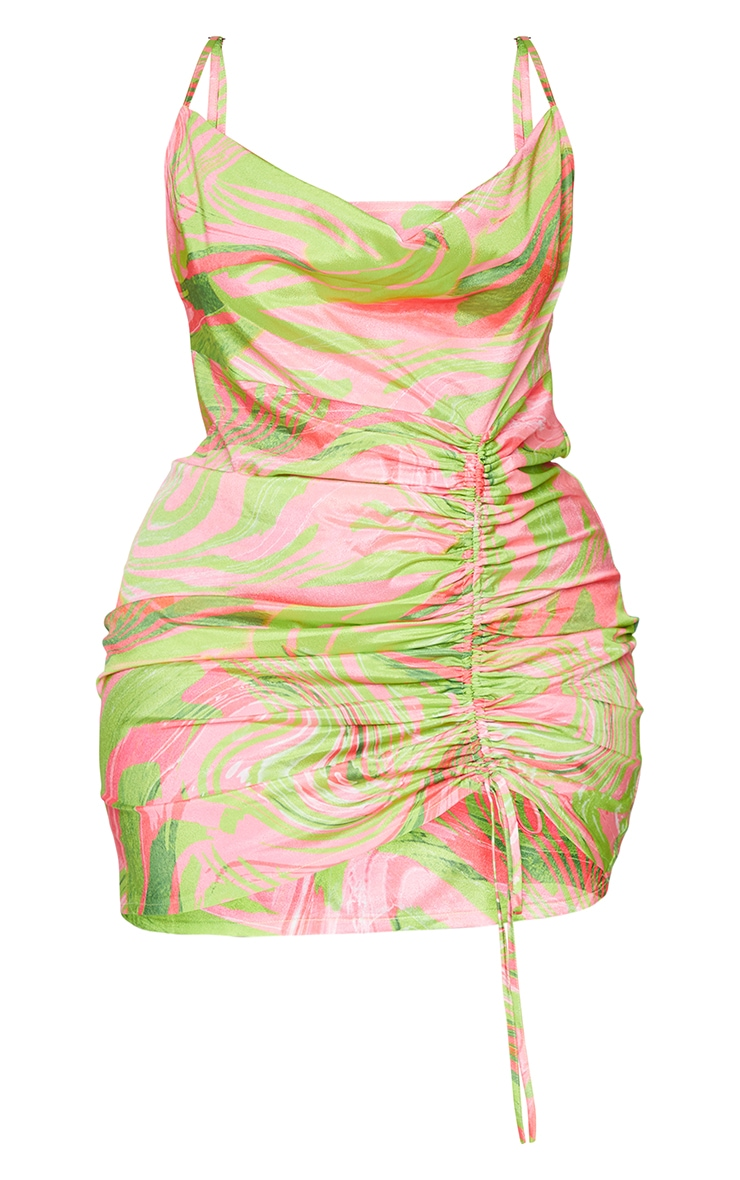 Plus Pink Abstract Cowl Ruched Front Bodycon Dress 5