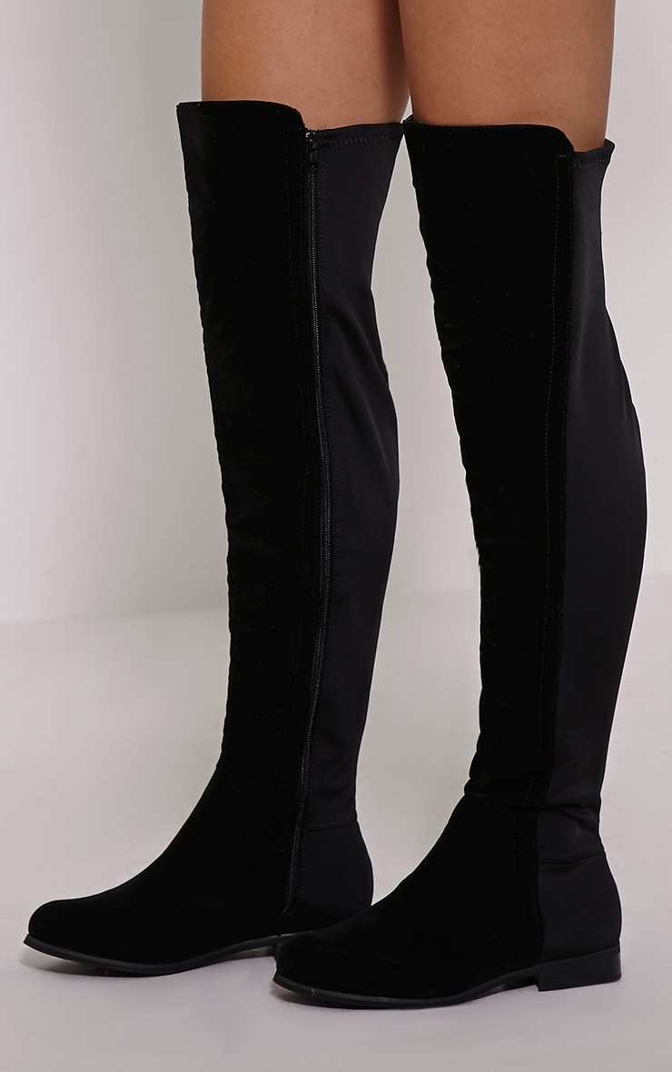 Finley Black Faux Suede Riding Boots 1