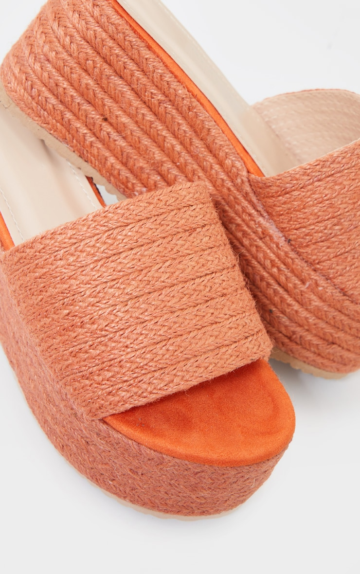 Orange Espadrille Flatform Sandals 4