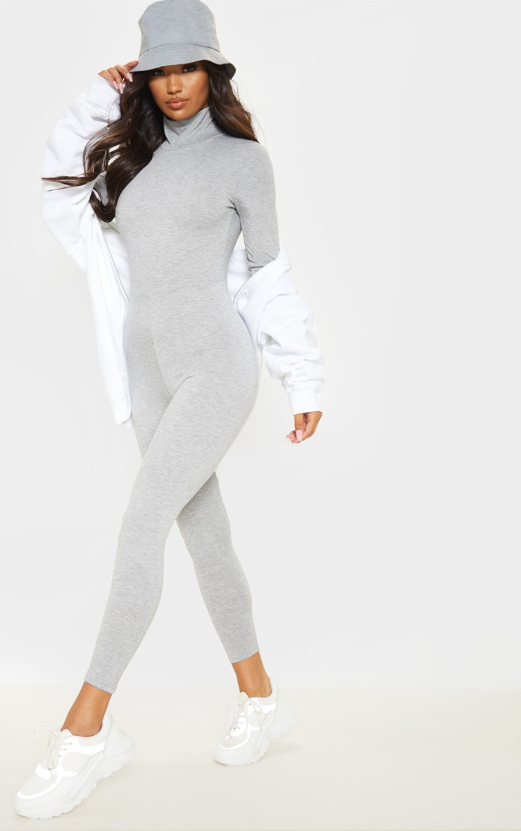 Grey Roll Neck Long Sleeve Jumpsuit 4