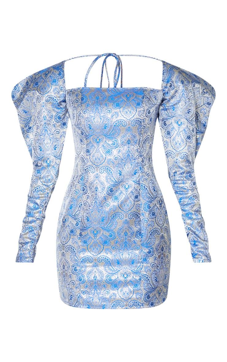 Navy Extreme Puff Sleeve Jacquard Bodycon Dress 3