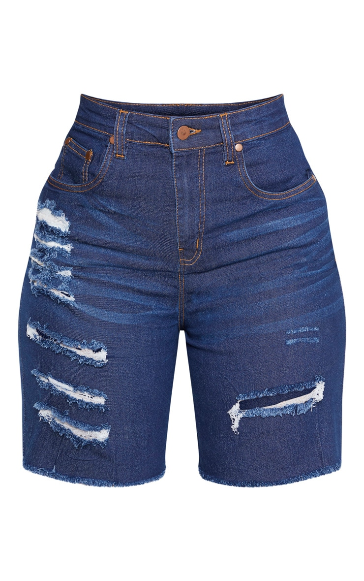 Shape Mid Wash Distressed Longline Denim Shorts 3