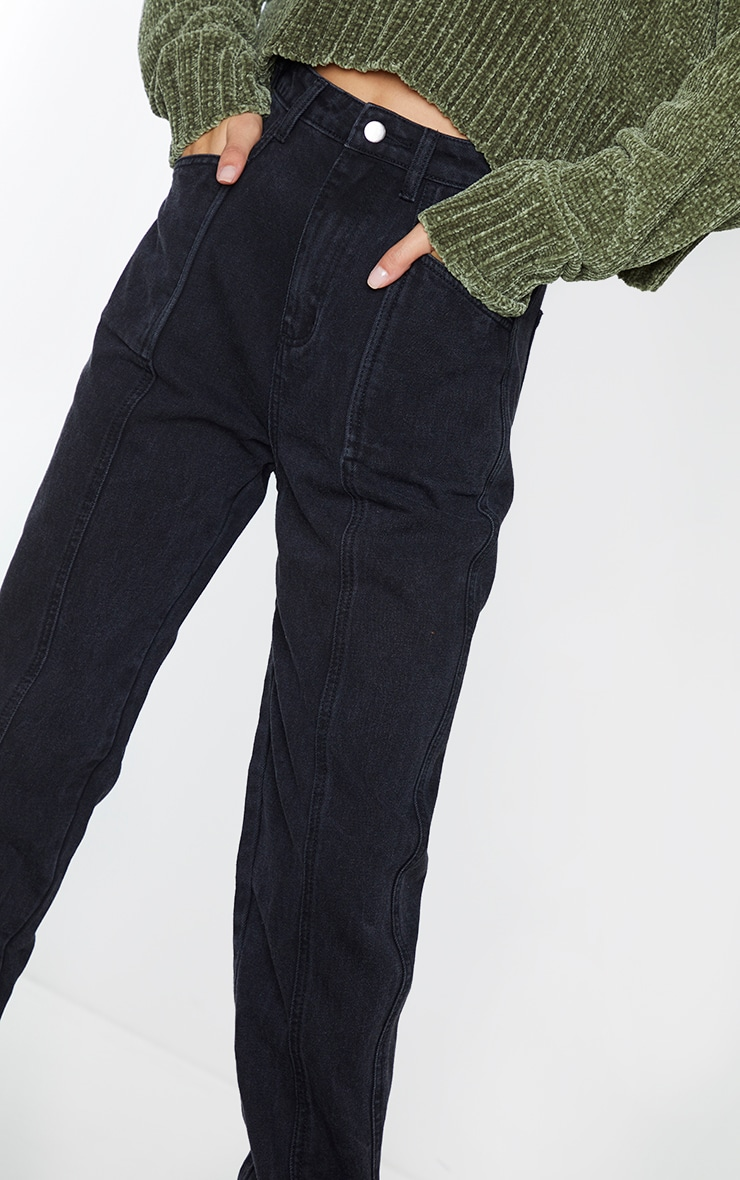 Jean droit délavé noir à détail poches et coutures sur l'avant 4