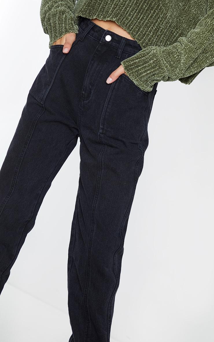 Washed Black Front Seam Pocket Detail Straight Leg Jeans 4