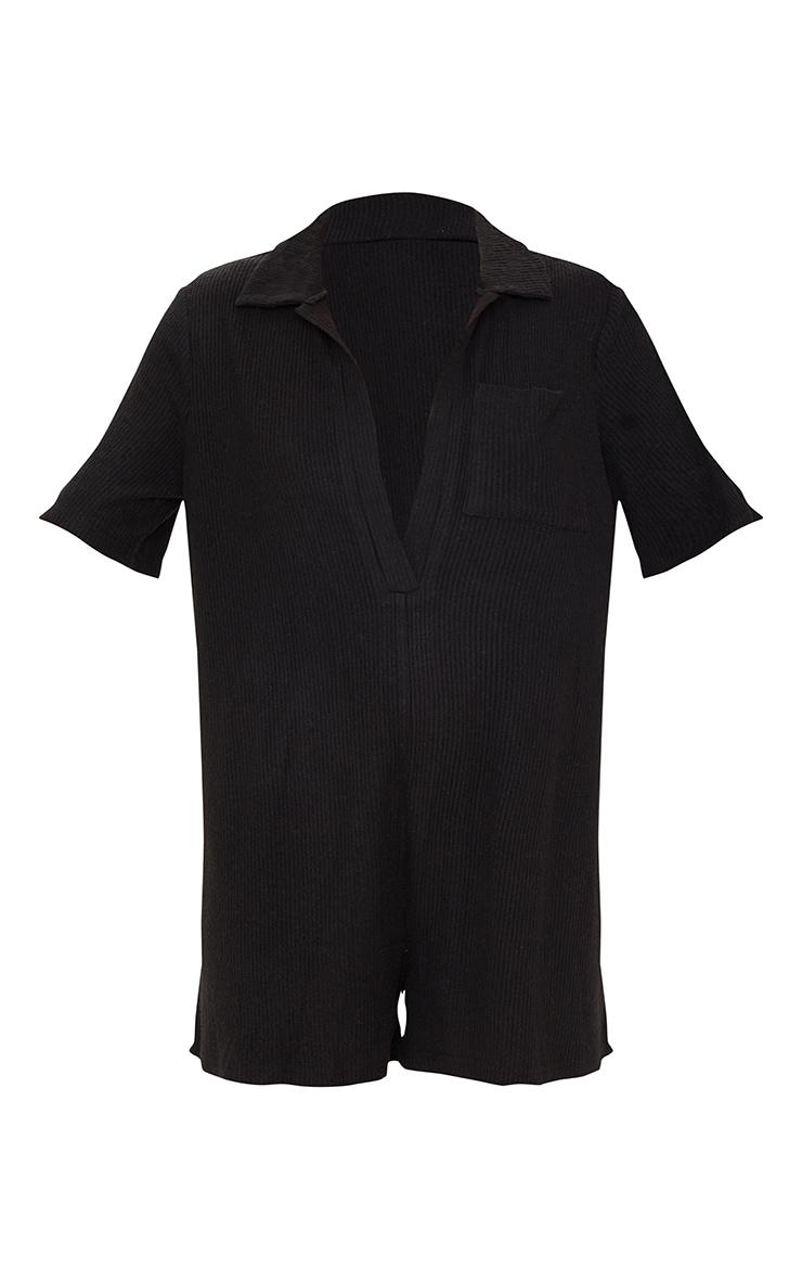 Combishort côtelé brossé noir à col oversize 5