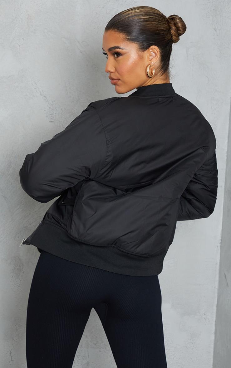 Black Nylon Popper Button Pocket Bomber Jacket 2