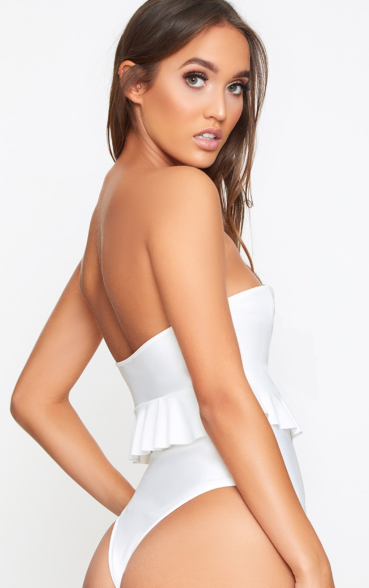 White Bandeau Lace Up Frill Detail Swimsuit 2
