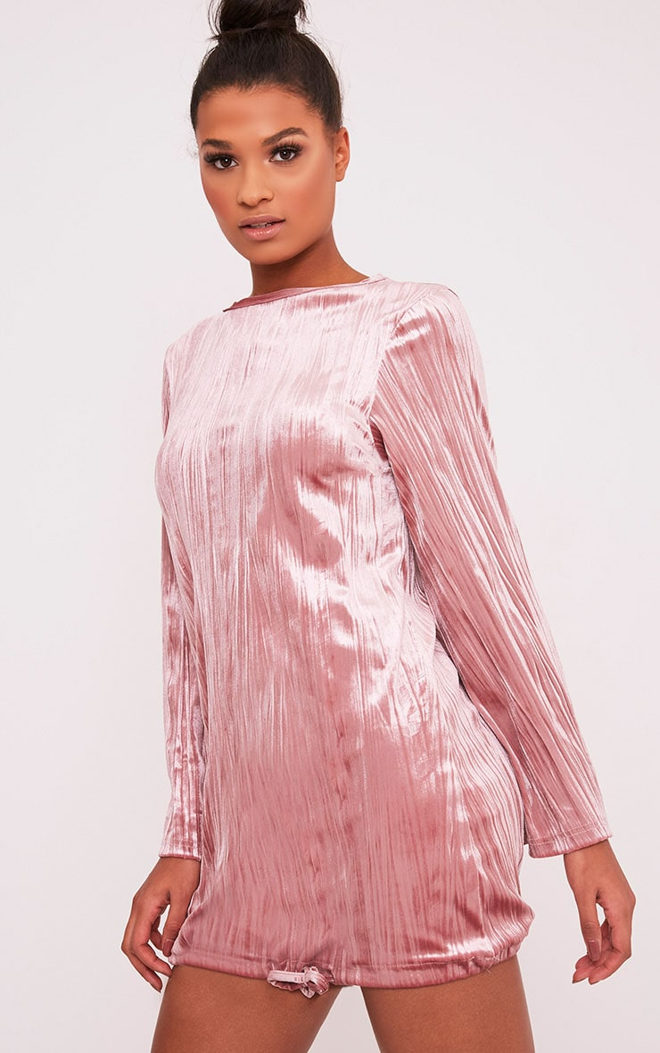 Ailsah Dusty Pink Textured Velvet Bell Sleeve Shift Dress 4
