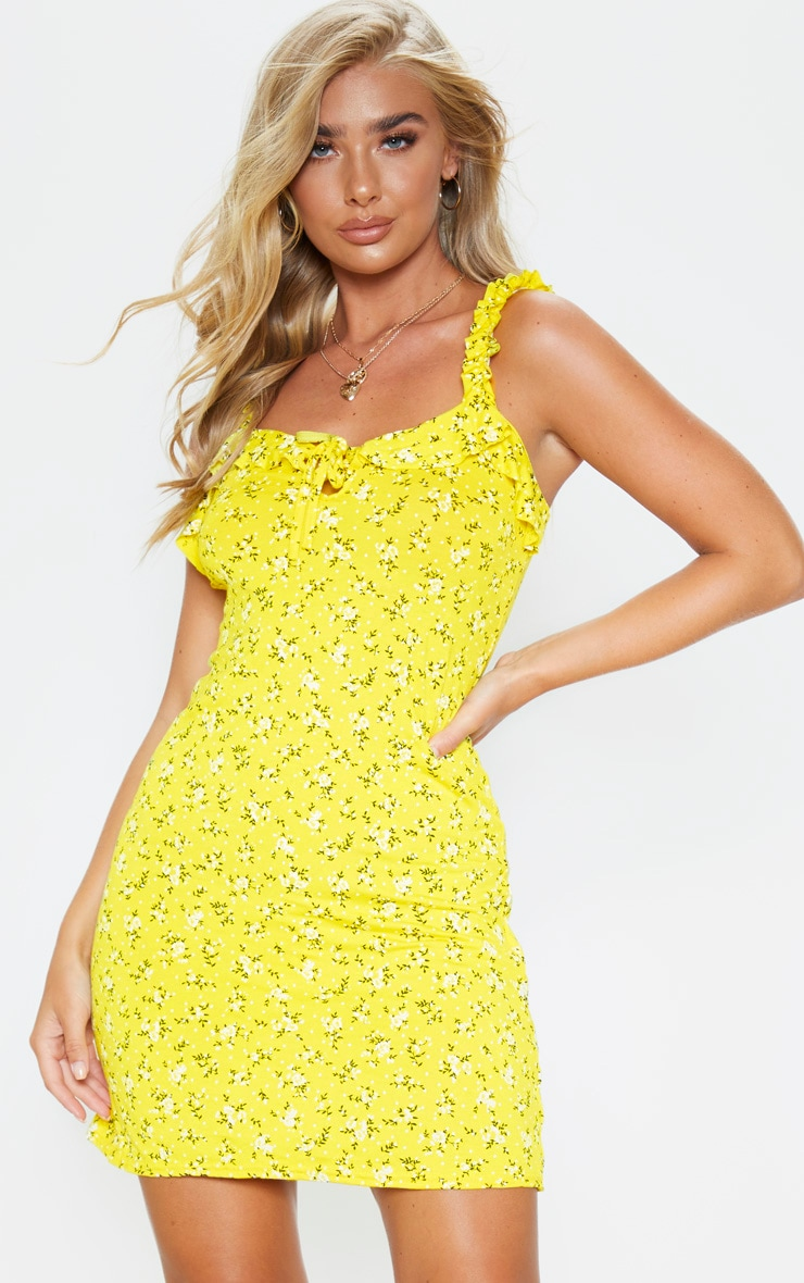 Yellow Ditsy Floral Frill Detail Shift Dress 1