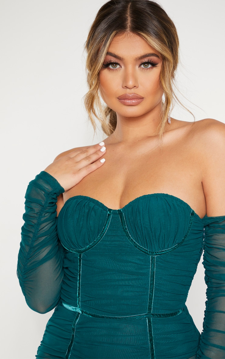 Jasper Green Mesh Ruched Velvet Binded Bardot Midi Dress  5
