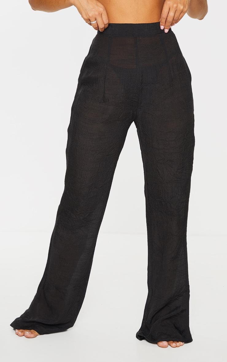 Black Wide Leg Linen Look Beach Pants 2