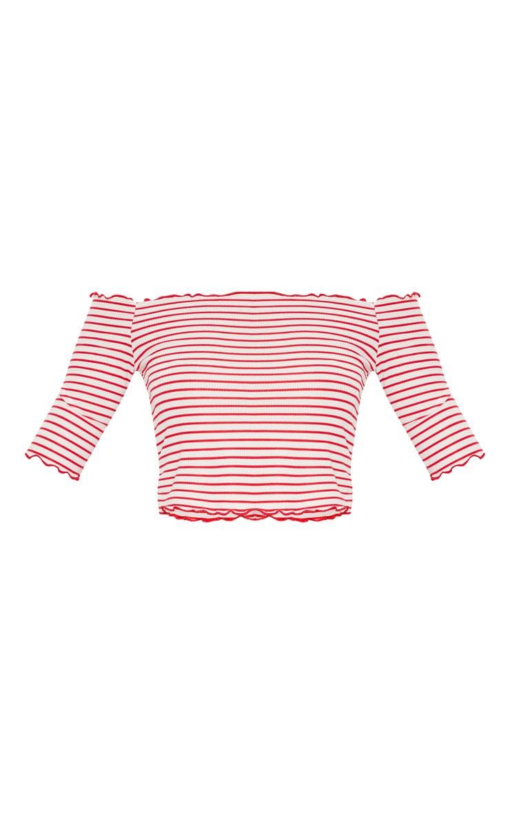 Red Frill Edge Short Sleeve Stripe Top 3