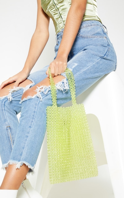 e557dacb7fb Lime Beaded Tote Bag. More colours available
