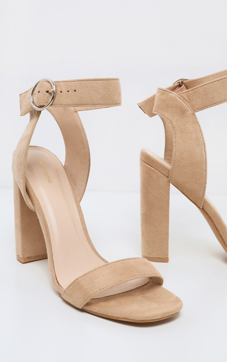 Nude Ring Buckle Block Heel Sandal 4