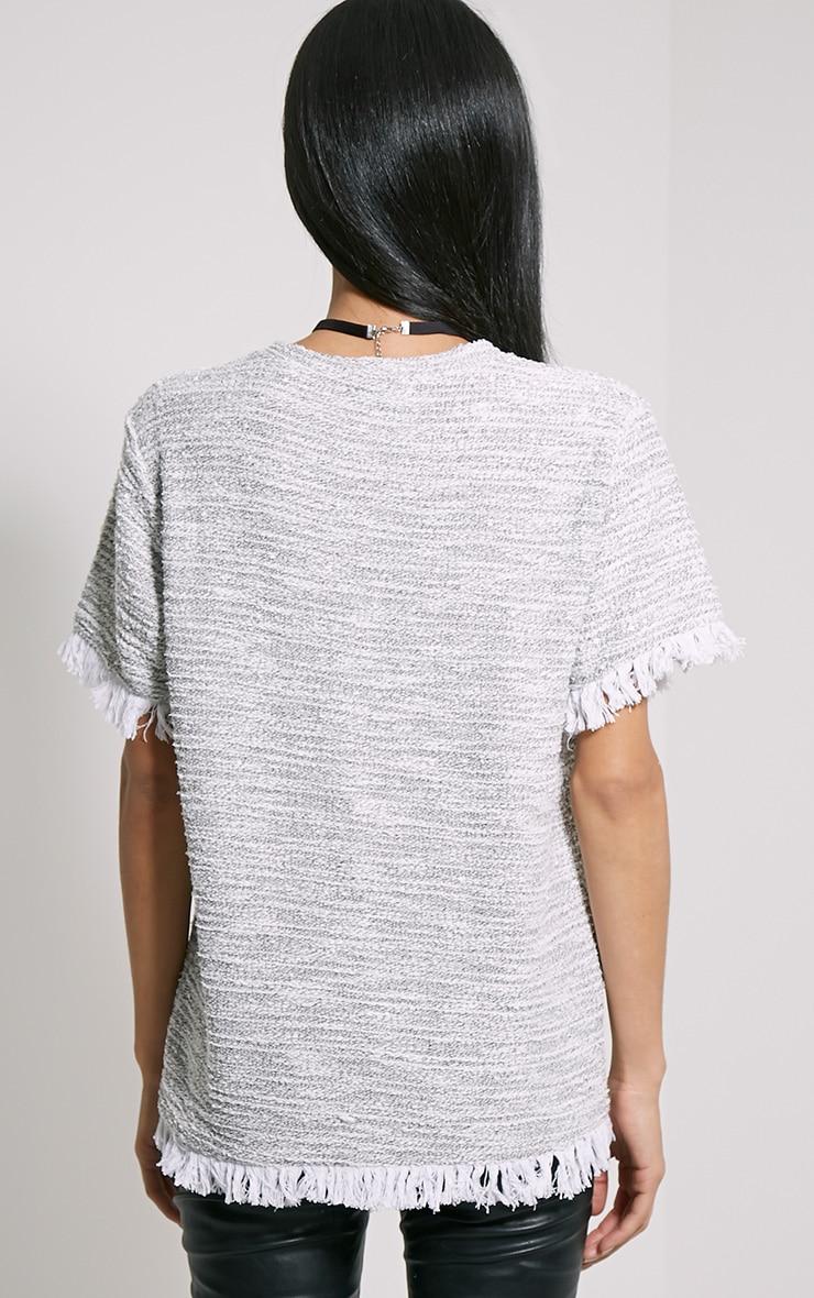 Briona Cream Knitted Tassel T-Shirt 2