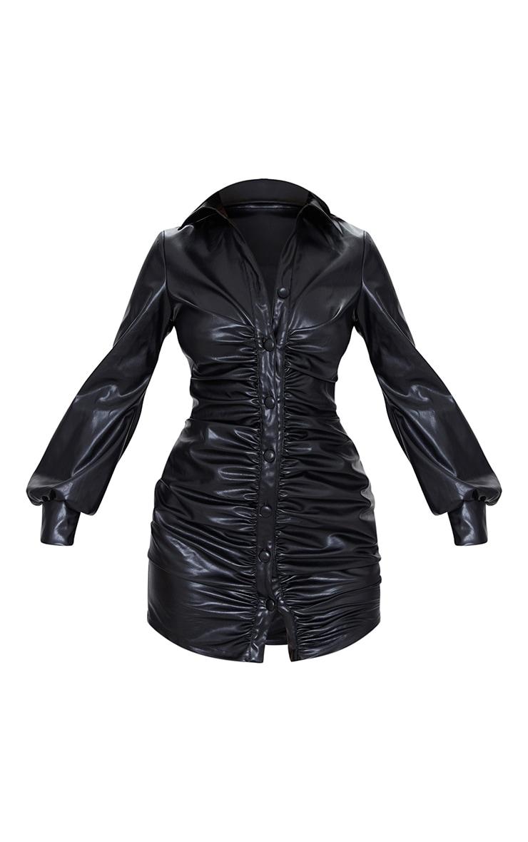 Black PU Ruched Shirt Style Bodycon Dress 5